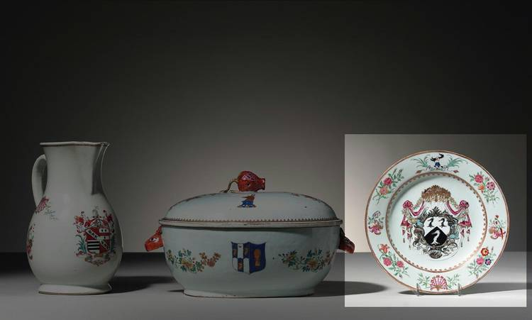 A CHINESE EXPORT ARMORIAL PLATE CIRCA 1755