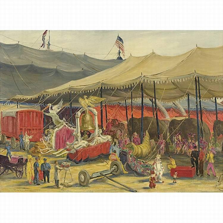 CHARLES BASKERVILLE (AMERICAN, B. 1896 CIRCUS BACKLOT