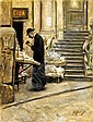 VINCENZO MIGLIARO (NAPOLI 1858 - 1938) LA BANCARELLA DEI LIBRI, Vincenzo Migliaro, Click for value