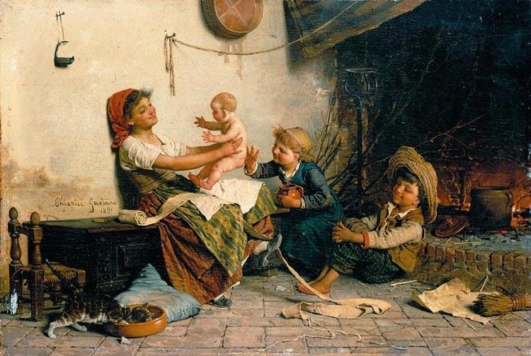 GAETANO CHIERICI (REGGIO EMILIA 1838 - 1920) GIOIE MATERNE