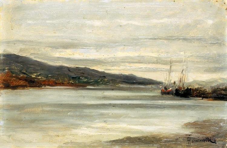 ACHILLE TOMINETTI (MILANO 1848 - MIAZZINA 1917) MARINA CON BARCHE