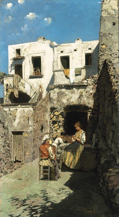 RICCARDO PELLEGRINI (MILANO 1863 - CRESCENZAGO 1934) LE RICAMATRICI DI CAPRI