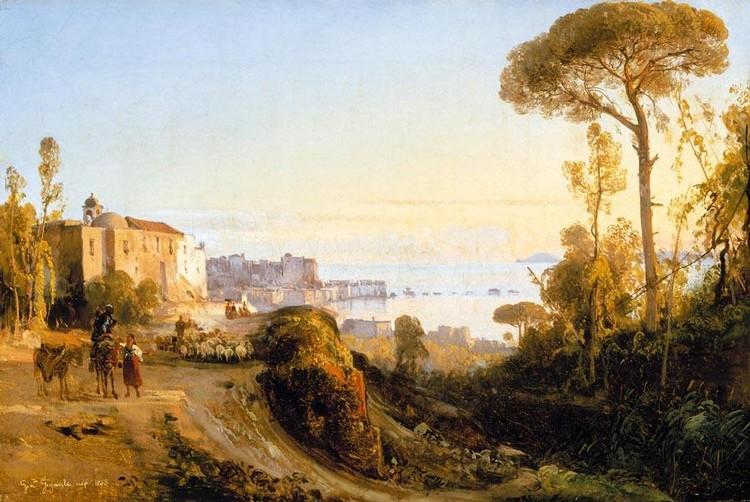 GIACINTO GIGANTE (NAPOLI 1806 - 1876) VEDUTA DI POZZUOLI