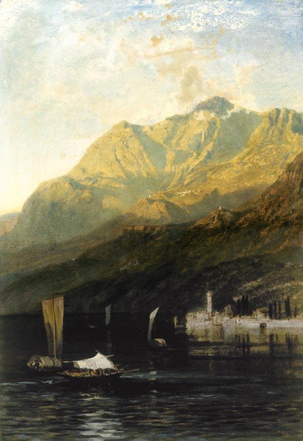FREDERICH LEE BRIDELL (SOUTHAMPTON 1831 - 1863) CREPUSCOLO AD ABBADIA LARIANA
