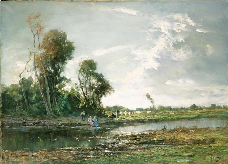 CARLO FOLLINI (DOMODOSSOLA 1848 - PEGLI 1938) RISTORO LUNGO IL FIUME