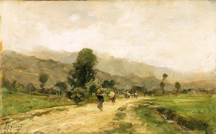 CARLO FOLLINI (DOMODOSSOLA 1848 - PEGLI 1938) STRADA DI CAMPAGNA CON CONTADINE