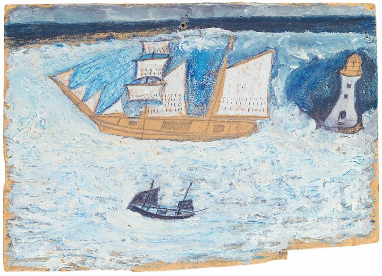 PROPERTY OF A EUROPEAN PRIVATE COLLECTOR f - ALFRED WALLIS 1855-1942 SCHOONER, FISHING BOAT AND