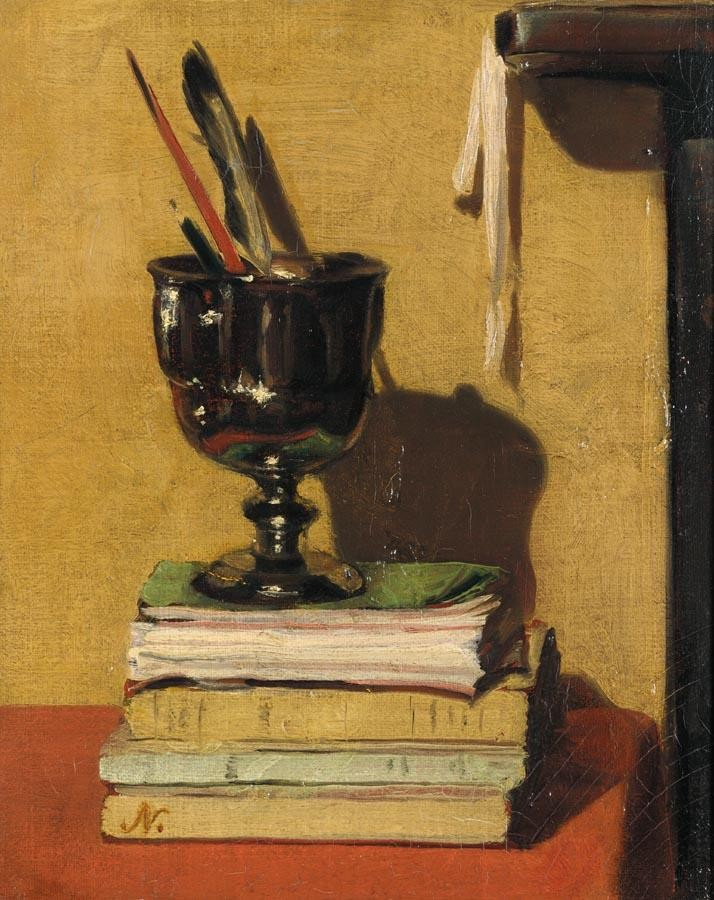 SIR WILLIAM NICHOLSON 1872-1949 VASE AND BOOKS ON A RED TABLE