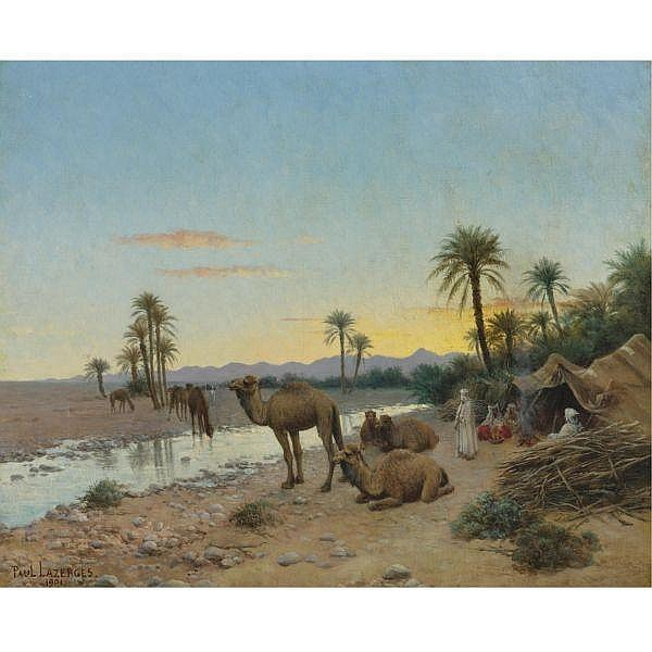 Paul Jean Baptiste Lazerges , French 1845 - 1902 Rest at the oasis oil on canvas