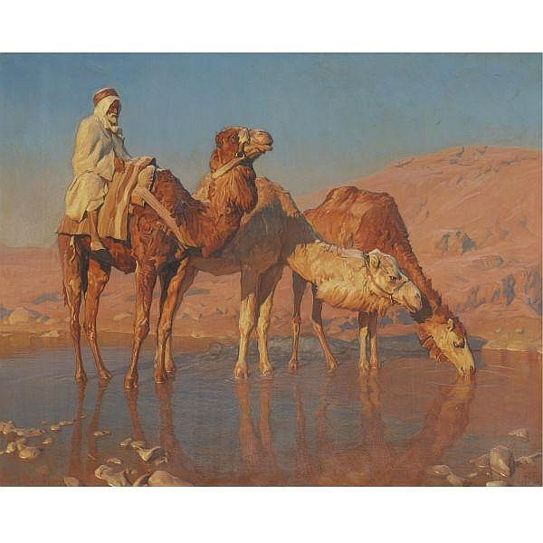 Adam Styka , Polish 1890-1959 The Camel Driver oil on canvas