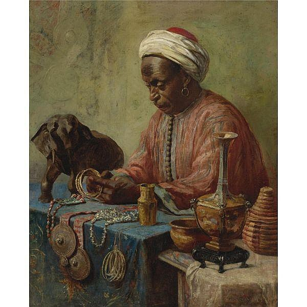 Gyula Tornai , Hungarian 1861 - 1928 The Jewelry Maker   oil on canvas laid down on board