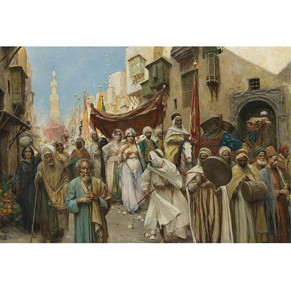 Fabio Fabbi , Italian 1861-1946 A Wedding Procession in Cairo oil on canvas