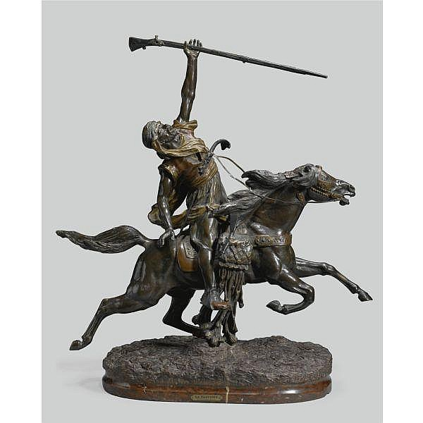 Prosper Lecourtier , French 1855-1924 La Fantasia Arabe   bronze, red and brown patina and a rouge griotte marble base