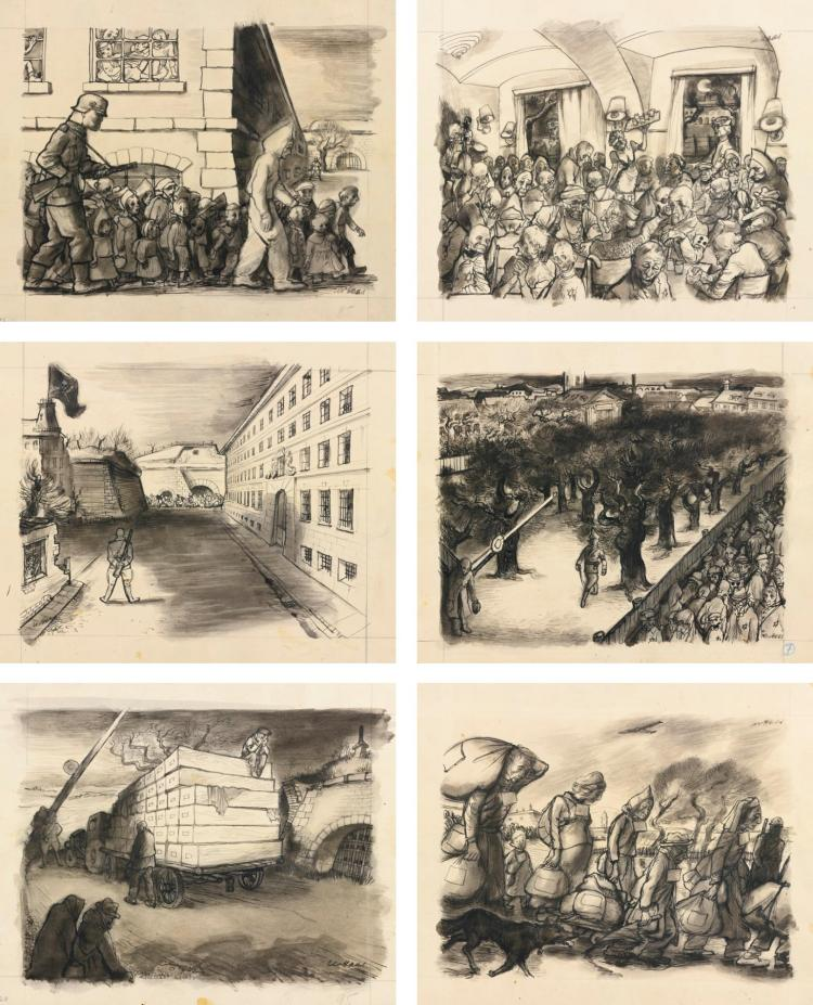 LEO HAAS | Theresienstadt: The Transport Comes; Transport from Terezin 'Released'; Café Alibi in Ghetto; Superman Commandant; Funeral with Dignity; and Kindertransport to the Zyklon: Six Drawings
