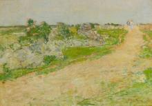 CHILDE HASSAM | Hilltop: Two figures on the dunes