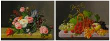 SEVERIN ROESEN | Still Life with Flowers and Still Life with Fruit: A Pair of Paintings
