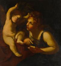 ITALIAN SCHOOL, 17TH CENTURY | Allegory of Painting (Putto Crowning Female)