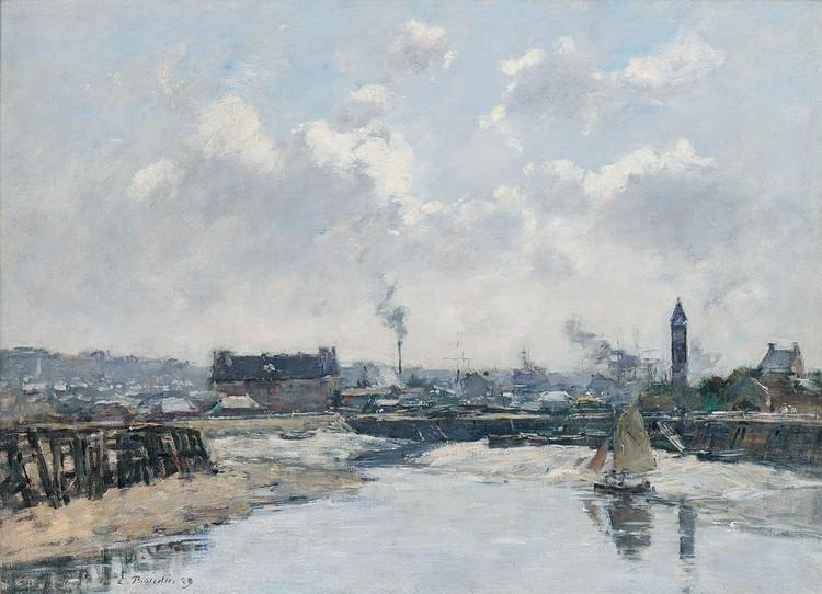EUGÈNE BOUDIN 1824-1898 TROUVILLE. LE PORT MARÉE BASSE, LE MATIN