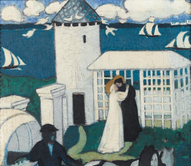 PROPERTY FROM THE GUSTAVE FAYET COLLECTION MAURICE DENIS 1870-1943 VISITATION EN BLEU OR