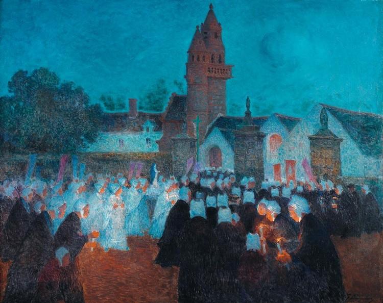 FERDINAND DU PUIGAUDEAU 1864-1930 PROCESSION À HENVIC