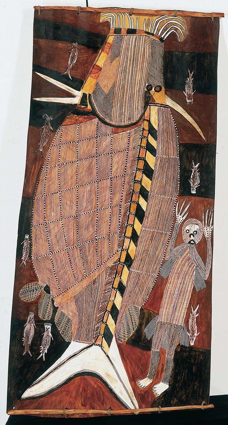 PETER MARRALWANGA CIRCA 1916-1987 MIMIH SPIRIT DANCING AT CATFISH CEREMONY 1979