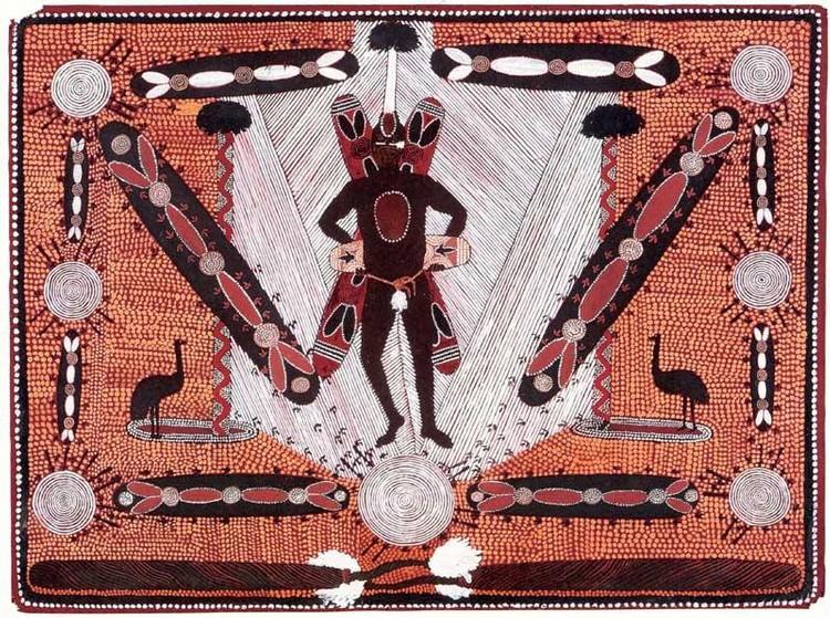 CLIFFORD POSSUM TJAPALTJARRI CIRCA 1932-2002 EMU CORROBOREE MAN 1972