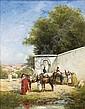 Victor Pierre Huguet Lude 1835 - Paris 1902 , Chevaux à l'abreuvoir Victor Huguet ; Horses drinking ; oil on canvas ; signed lower right ; Huile sur toile, Victor Huguet, Click for value