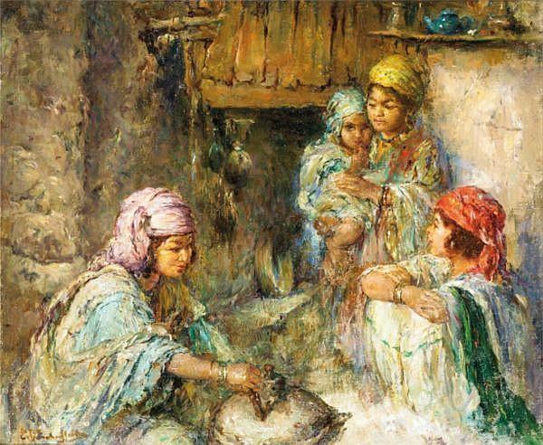 f - Edouard Verschaffelt Gand 1874 - Bou Sâada 1955 Ecole Belge , Scène familiale Edouard Verschaffelt ; family scene ; oil on canvas ; signed lower left ; Huile sur toile