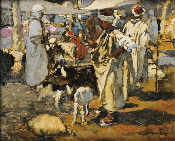 Léon Cauvy Montpellier 1874 - Alger 1933 , Marché arabe Léon Cauvy ; Arabian market ; oil on panel ; signed lower right Huile sur panneau