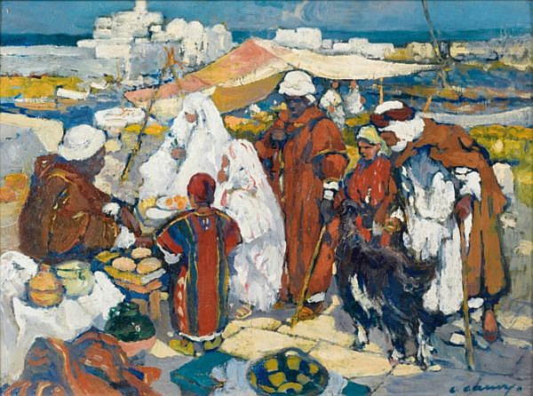 Léon Cauvy Montpellier 1874 - Alger 1933 , Marché devant l'Amirauté d'Alger Léon Cauvy ; market in front of the Admiralty of Algiers ; oil on panel ; signed lower right ; Huile sur panneau