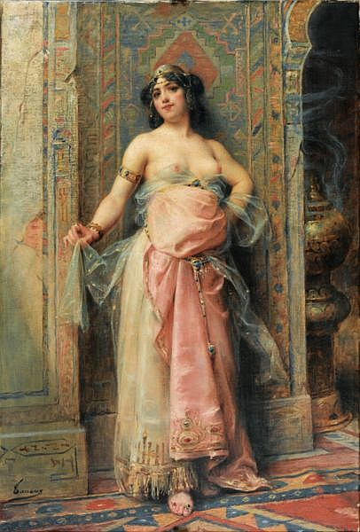 Henri Adrien Tanoux Marseille 1865 - Paris 1923 , Jeune orientale au brûle-parfums Henri Adrien Tanoux, a Young oriental girl with a perfume burner, oil on canvas, signe lower left Huile sur toile