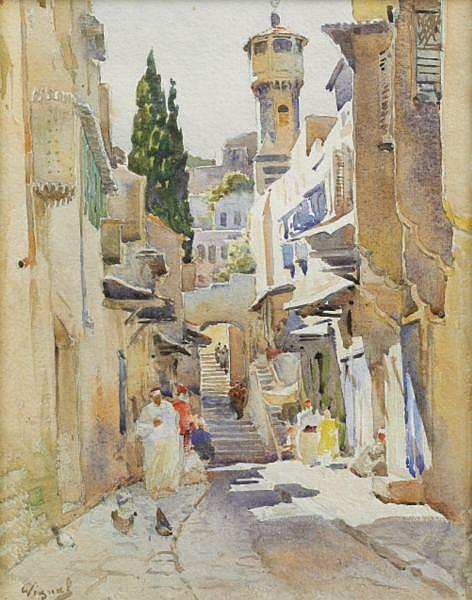 Pierre Vignal Le Bouscat 1855 - ? 1925 , Vue de Tripoli Pierre Vignal ; view of Tripoli ; watercolor ; signed lower left ; Aquarelle sur papier