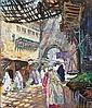 Henry Jean Pontoy Reims 1888 - ? 1968 , Femmes dans une rue de la Medina de Fes Henri Pontoy ; women in the street of the Medina in Fes ; oil on canvas ; signed lower left ; Huile sur toile, Henri Jean Pontoy, Click for value