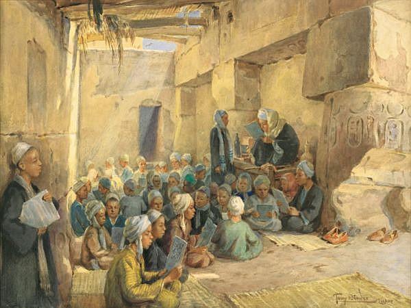 Anton (Tony) Binder Vienne 1868 - Nördlingen 1944 , L'ecole coranique à Luxor Tony Binder ; The coranic school in Luxor ; watercolor ; signed and located lower right ; Aquarelle sur papier