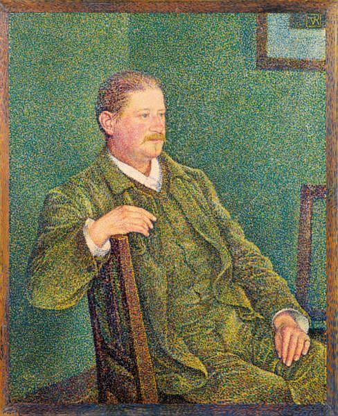 - Théo van Rysselberghe , 1862-1926 PORTRAIT D'AUGUSTE WEBER huile sur toile dans un cadre peint par l'artiste