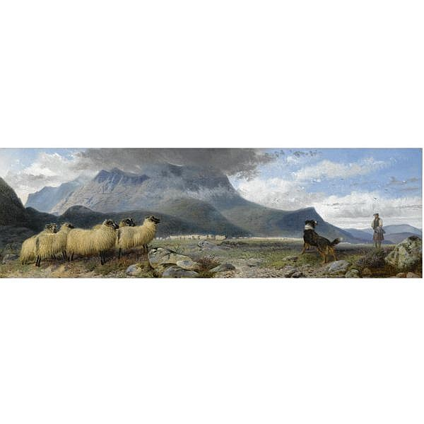 Richard Ansdell, R.A. , 1815-1885 rounding up the flocks oil on canvas