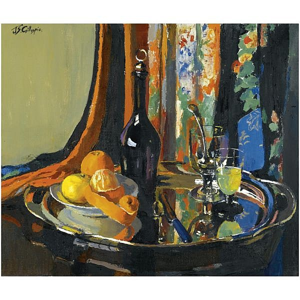 Janetta S Gillespie, R.S.A., R.S.W. , 1876-1956 the silver tray oil on canvas