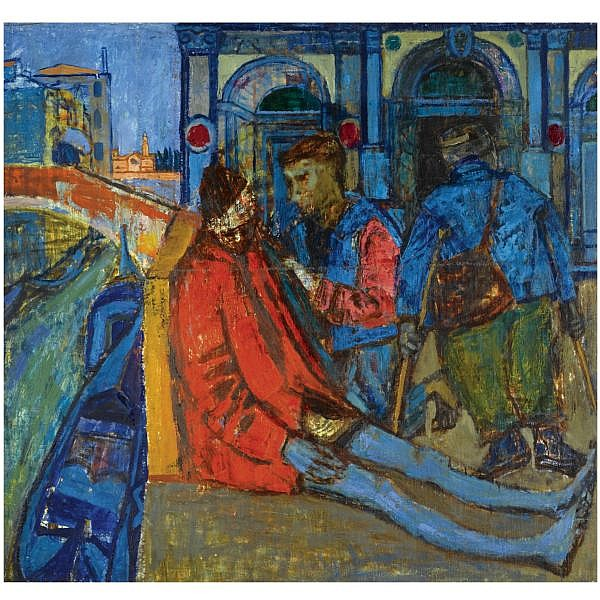 Joan Eardley, RSA , 1921-1963 beggars in venice oil on canvas laid on board