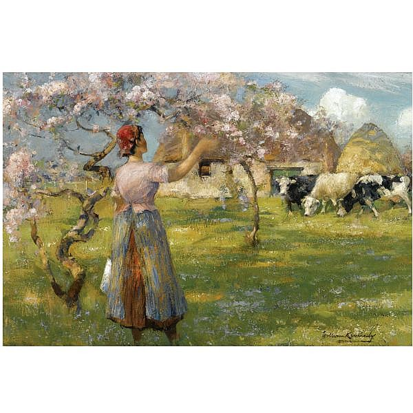William Kennedy , 1859-1919 spring blossom oil on canvas