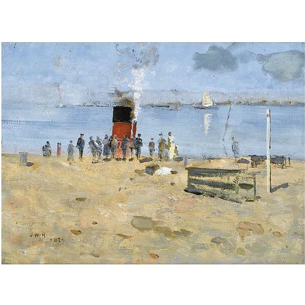 James Whitelaw Hamilton , 1860-1932 harbour side oil on canvas