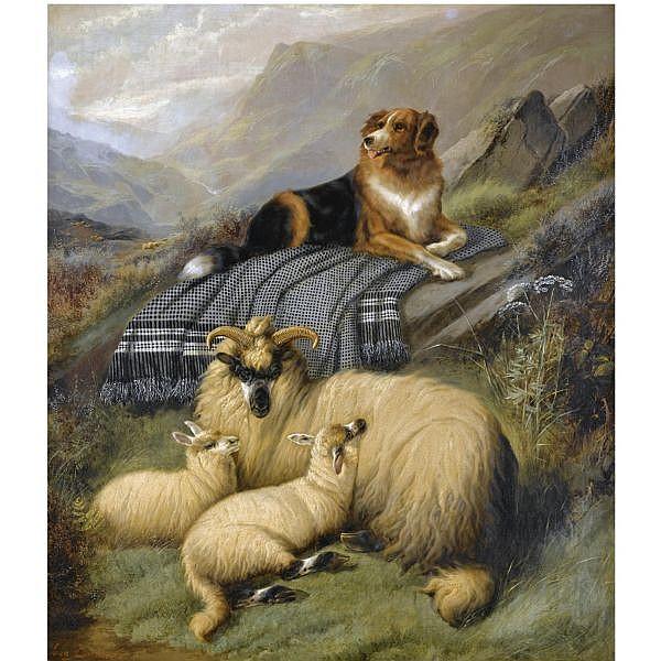 John Barker , 1811-1886 guarding the flock oil on canvas