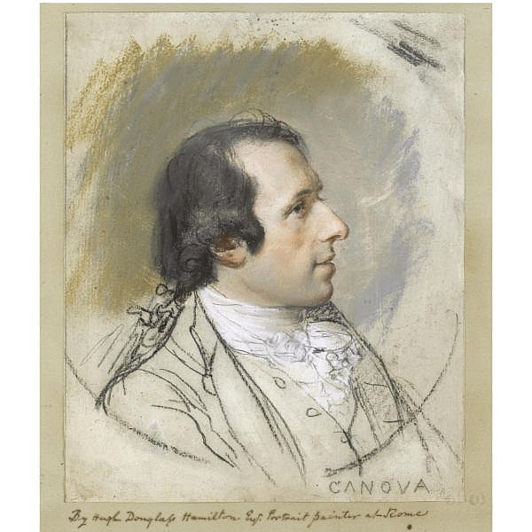 Hugh Douglas Hamilton , 1736 - 1808 Portrait of Antonio Canova (1757-1822) pastel over traces of pencil