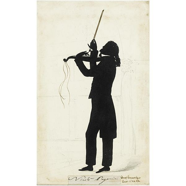 - Augustin Amant Constant Fidele Edouart , 1789-1861 Portrait of Nicholas Paganini (1784-1840) applied black paper with brown wash