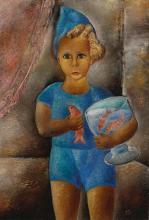 REUVEN RUBIN | Boy with Goldfish