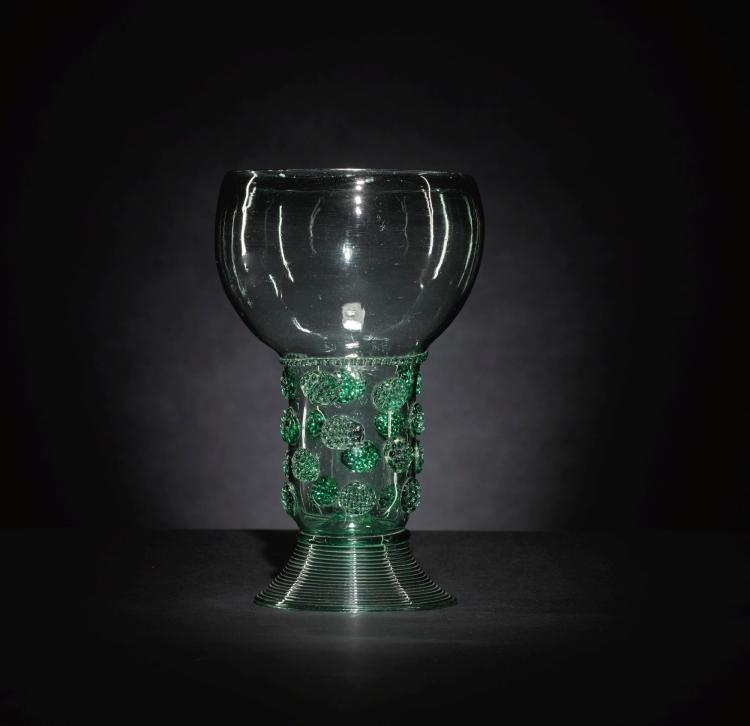 A LARGE DUTCH OR GERMAN GREEN-TINTED GLASS ROEMER, MID-17TH CENTURY |