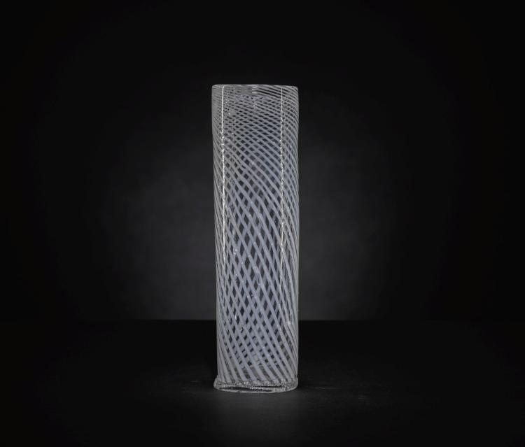 A FAÇON DE VENISE LATTICINIO GLASS TALL BEAKER, 17TH CENTURY |