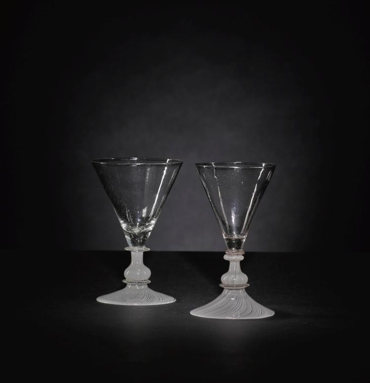 TWO FAÇON DE VENISE WINE GLASSES, 17TH CENTURY |