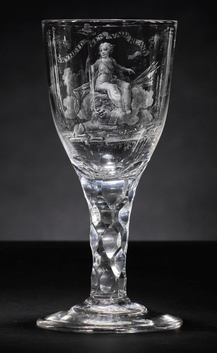 A STIPPLE-ENGRAVED WINE GLASS, ATTRIBUTED TO DAVID WOLFF, CIRCA 1795 |