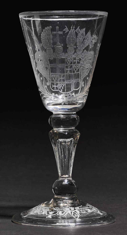 A THURINGIAN ENGRAVEDARMORIAL GLASS GOBLET WITH THE ARMS OF ADOLPHUS VON DALBERG, CIRCA 1730 |