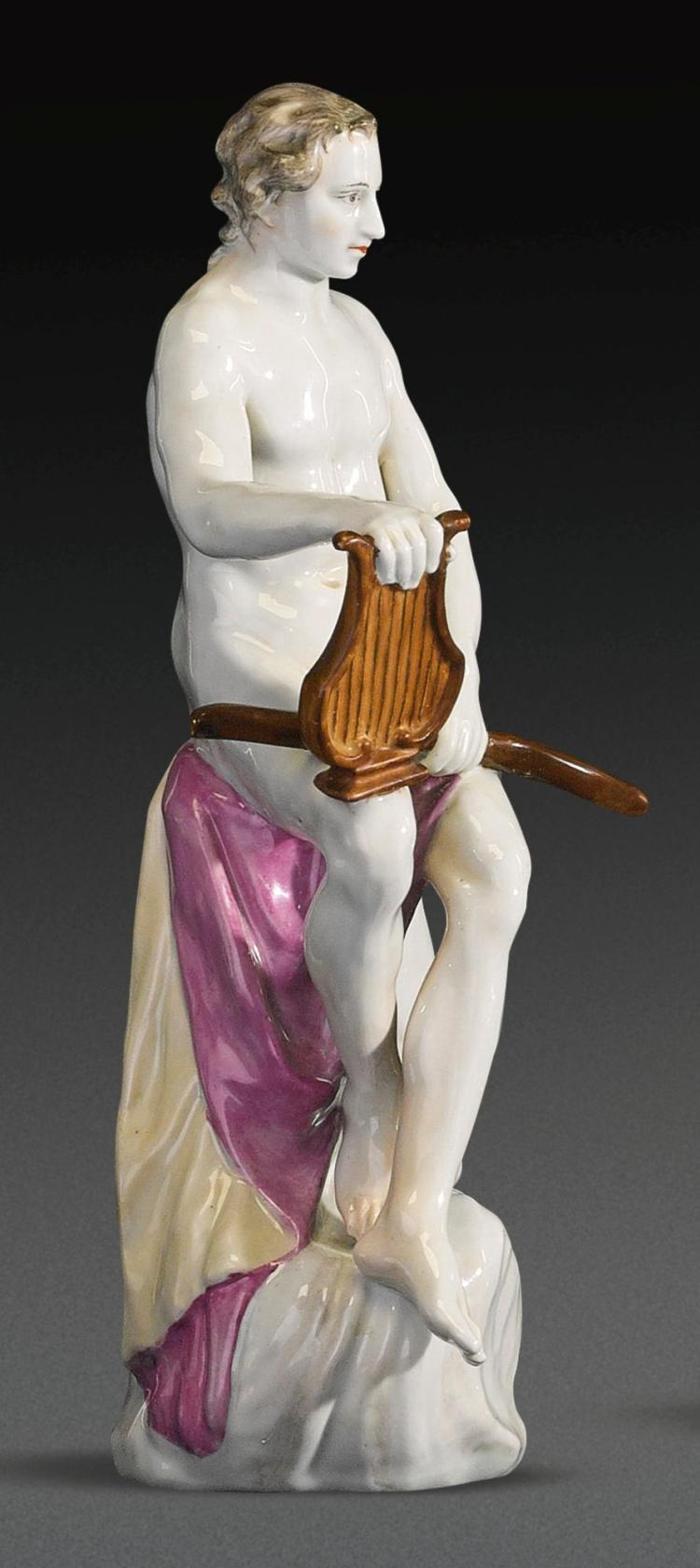 A KLOSTER VEILSDORF PORCELAIN FIGURE OF APOLLO FROM THE 'SEVEN PLANETS' SERIES, CIRCA 1765  